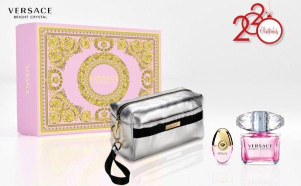 Versace Bright Crystal 90ml edt + 10ml travel spray + Versace silver pouch